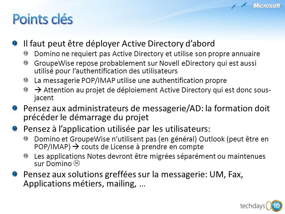 Il faut peut être déployer Active Directory dabord Domino ne requiert pas Active Directory et utilise son propre annuaire GroupeWise repose probableme