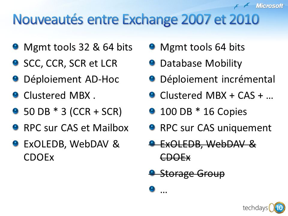 Mgmt tools 64 bits Database Mobility Déploiement incrémental Clustered MBX + CAS + … 100 DB * 16 Copies RPC sur CAS uniquement ExOLEDB, WebDAV & CDOEx
