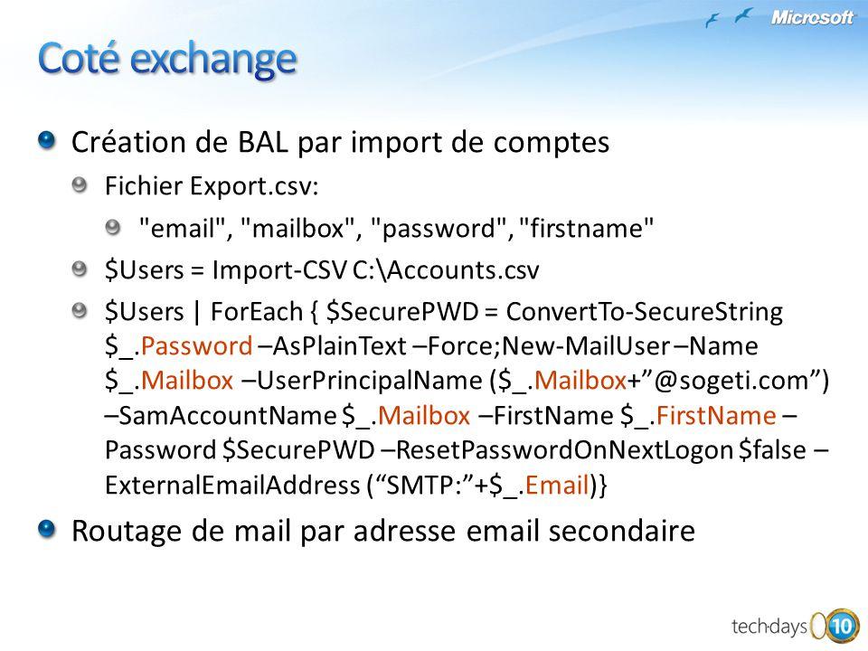 Création de BAL par import de comptes Fichier Export.csv: