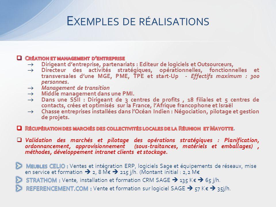 E XEMPLES DE RÉALISATIONS