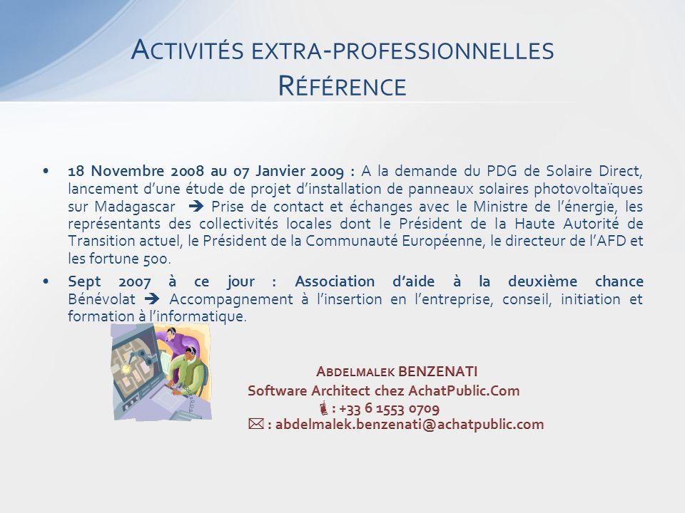 A CTIVITÉS EXTRA - PROFESSIONNELLES R ÉFÉRENCE