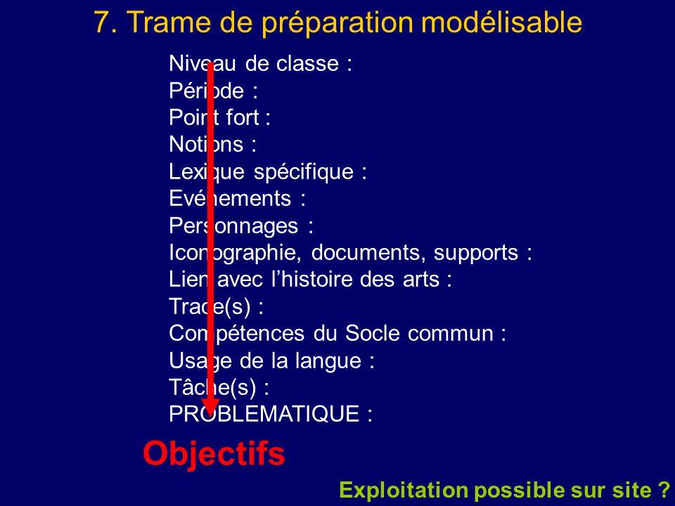7. Trame de préparation modélisable Niveau de classe : Période : Point fort : Notions : Lexique spécifique : Evénements : Personnages : Iconographie,