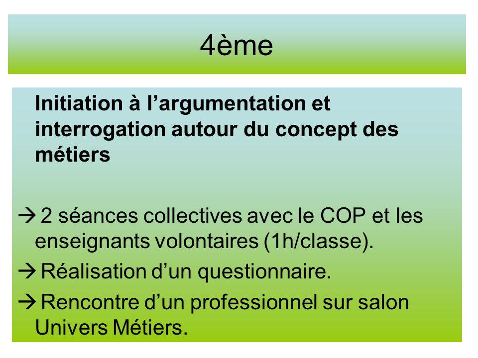 4ème Initiation à largumentation et interrogation autour du concept des métiers 2 séances collectives avec le COP et les enseignants volontaires (1h/classe).