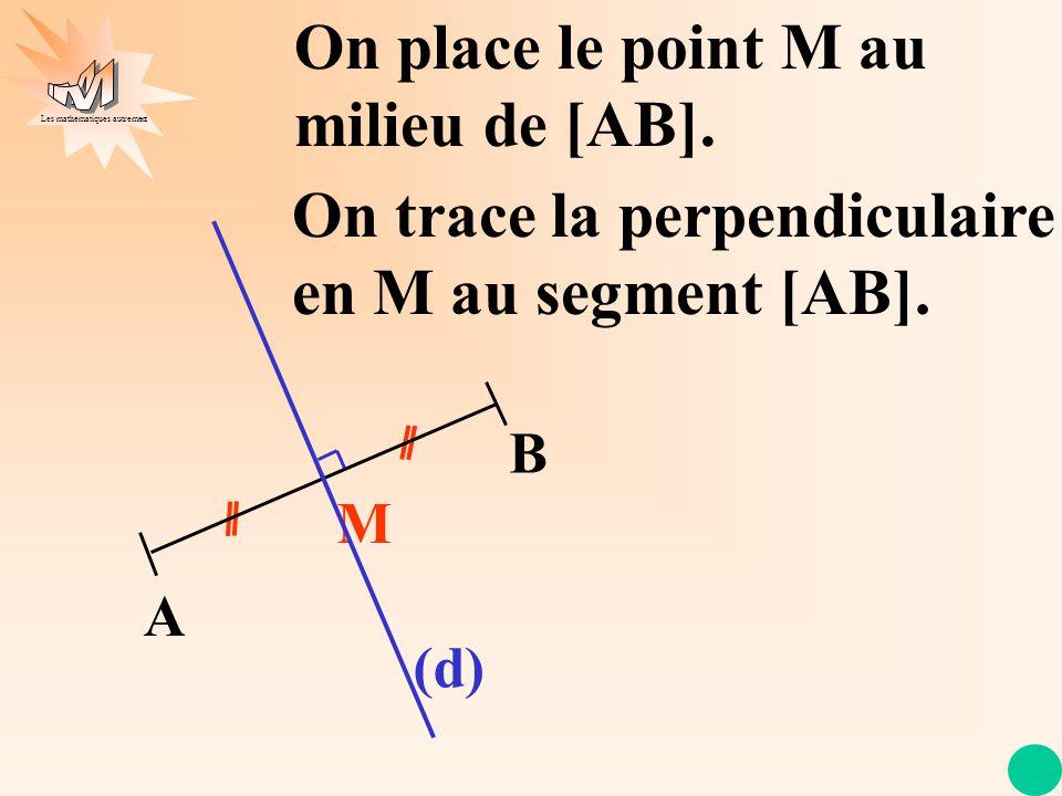 Les mathématiques autrement (d) On place le point M au milieu de [AB]. On trace la perpendiculaire en M au segment [AB]. A B M