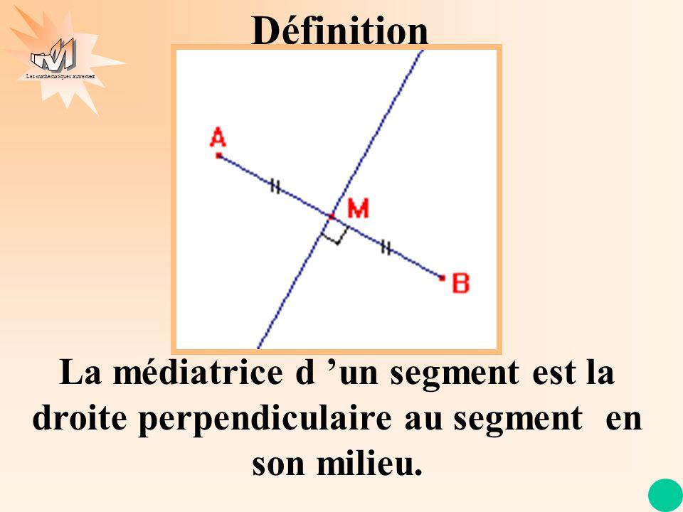 Les mathématiques autrement Définition La médiatrice d un segment est la droite perpendiculaire au segment en son milieu.