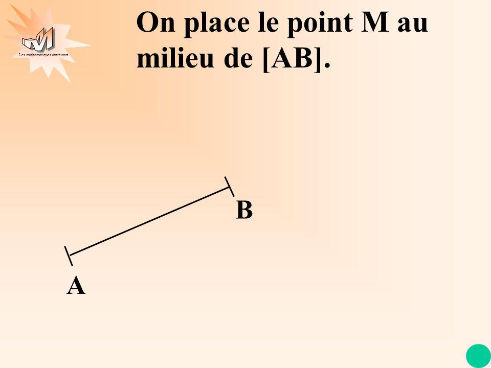 Les mathématiques autrement A B On place le point M au milieu de [AB].