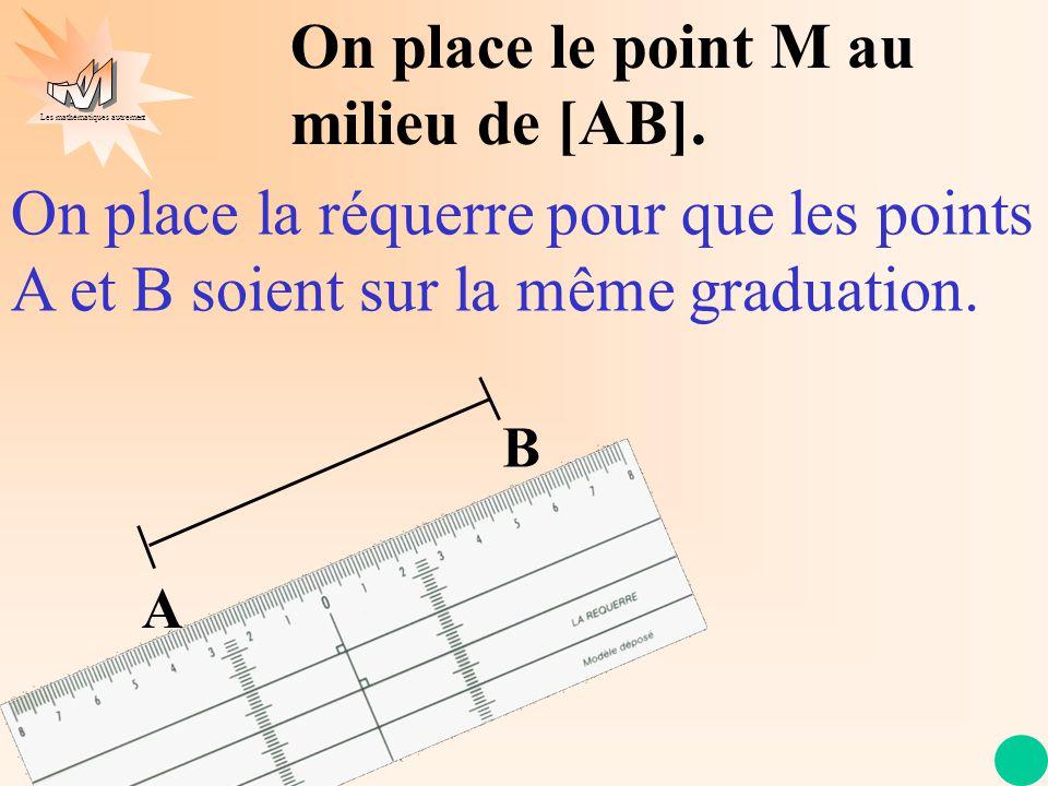Les mathématiques autrement A B On place le point M au milieu de [AB]. On place la réquerre pour que les points A et B soient sur la même graduation.
