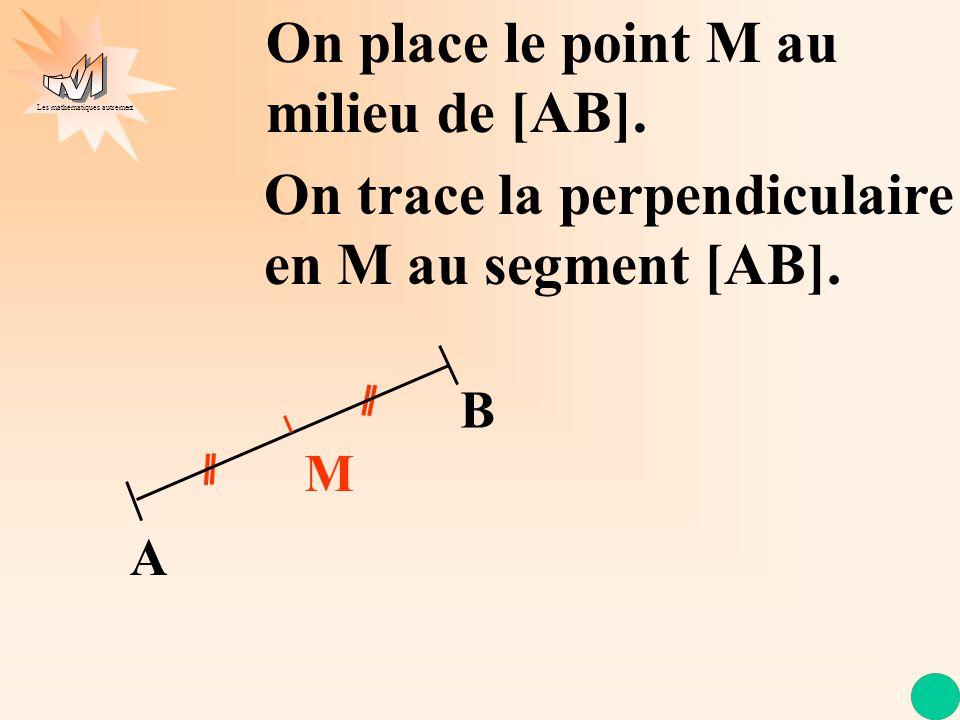 Les mathématiques autrement M A B On trace la perpendiculaire en M au segment [AB]. On place le point M au milieu de [AB].