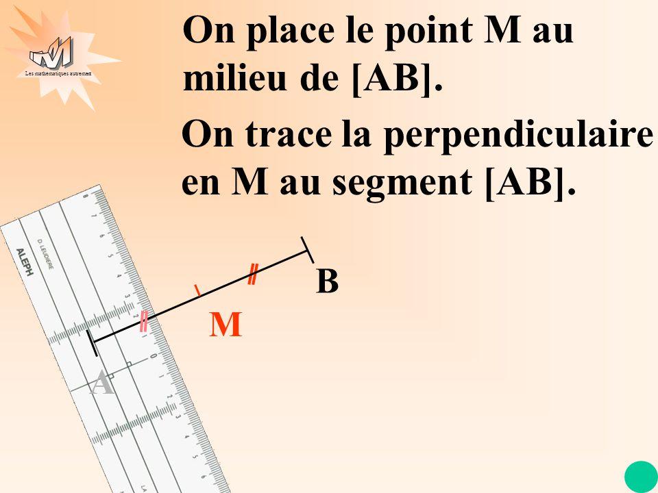 Les mathématiques autrement M On trace la perpendiculaire en M au segment [AB]. A B On place le point M au milieu de [AB].