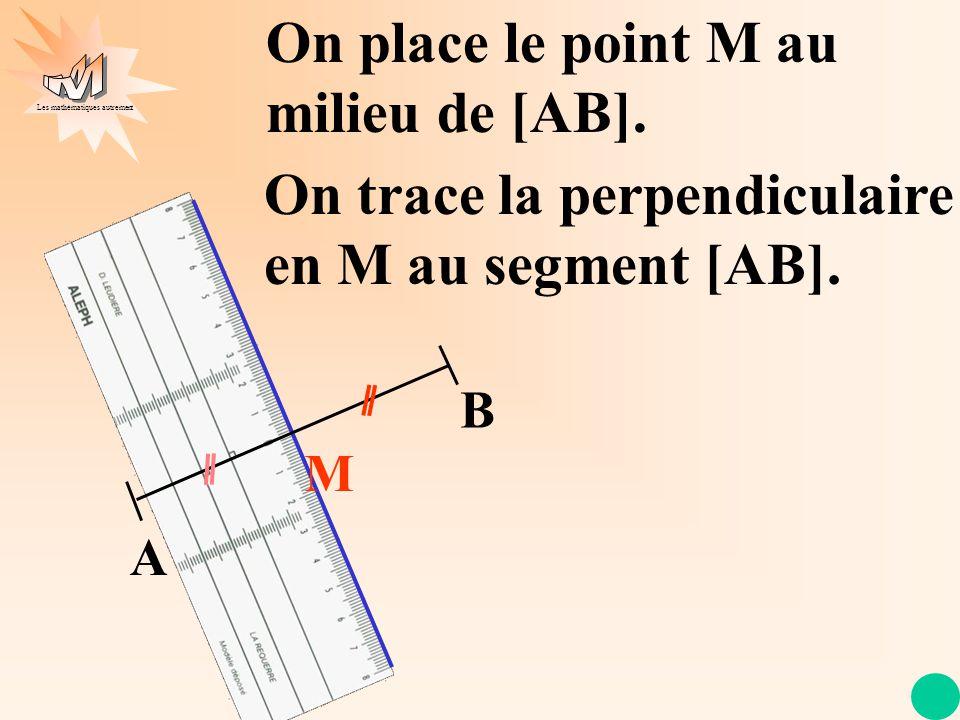 Les mathématiques autrement A B M On trace la perpendiculaire en M au segment [AB]. On place le point M au milieu de [AB].