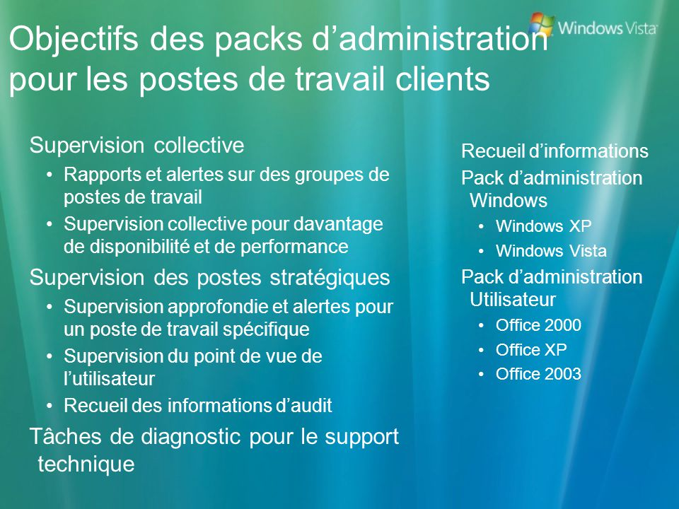 Objectifs des packs dadministration pour les postes de travail clients Supervision collective Rapports et alertes sur des groupes de postes de travail