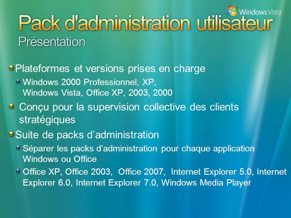 Plateformes et versions prises en charge Windows 2000 Professionnel, XP, Windows Vista, Office XP, 2003, 2000 Conçu pour la supervision collective des