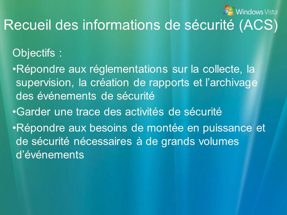 Recueil des informations de sécurité (ACS) Objectifs : Répondre aux réglementations sur la collecte, la supervision, la création de rapports et larchi