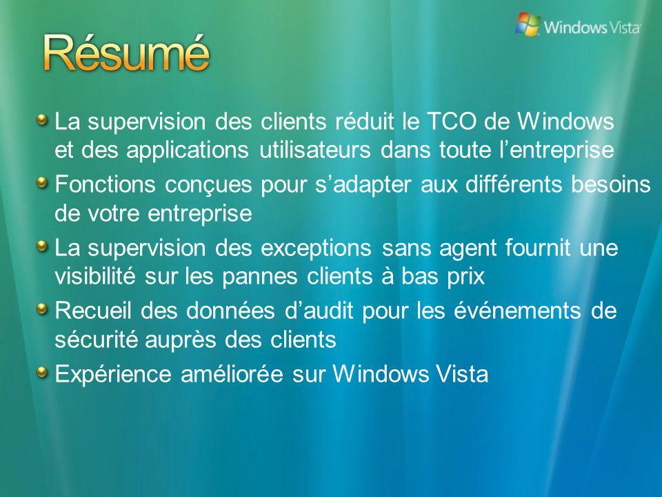 La supervision des clients réduit le TCO de Windows et des applications utilisateurs dans toute lentreprise Fonctions conçues pour sadapter aux différ