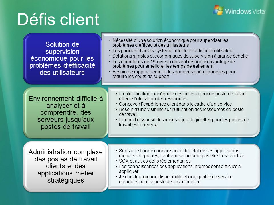 Pack dadministration Windows Rapports pour Windows Vista
