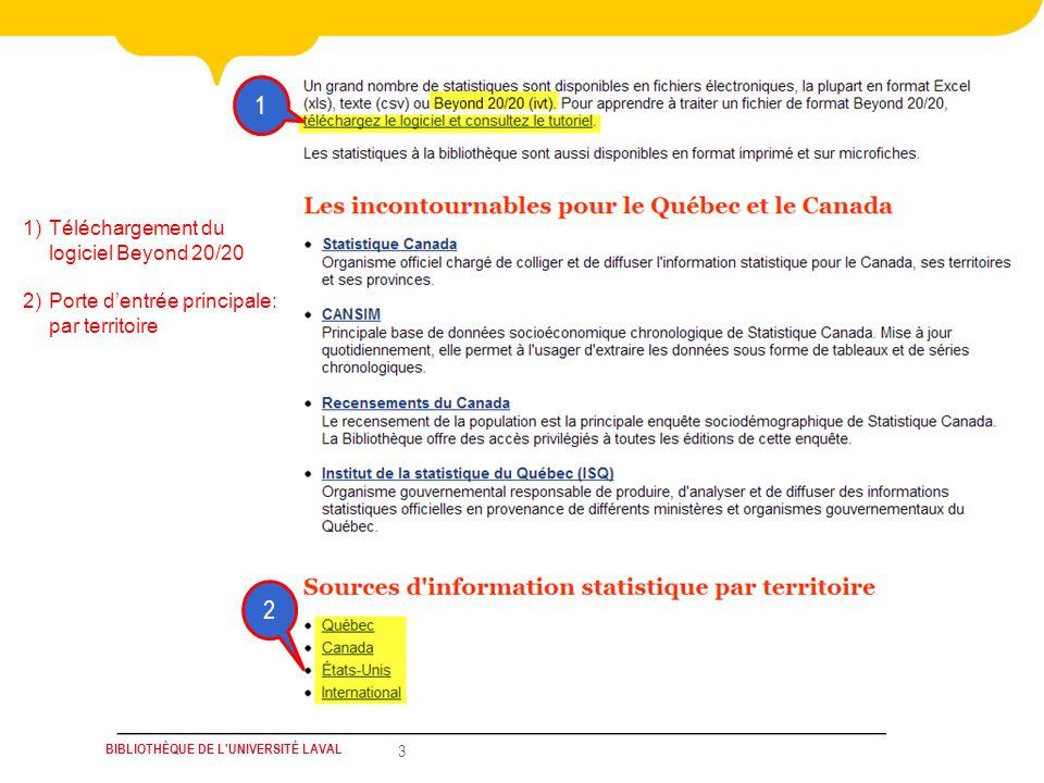 BIBLIOTHÈQUE DE L UNIVERSITÉ LAVAL 3 1 2 1)Téléchargement du logiciel Beyond 20/20 2)Porte dentrée principale: par territoire