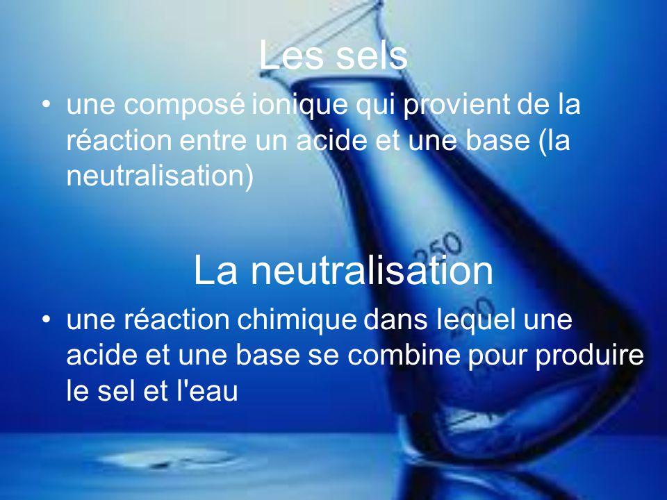 Les propriétés des sels se produit quand l acide réagit avec une base a une structure solide et cristalline les exemples incluent du sel de table, de sels de bain, et le chlorure de potassium **pas toutes les composés sont les acides, les bases ou les sels; certains sont des sucres