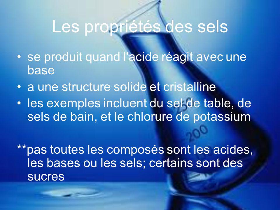 Les propriétés des sels se produit quand l'acide réagit avec une base a une structure solide et cristalline les exemples incluent du sel de table, de