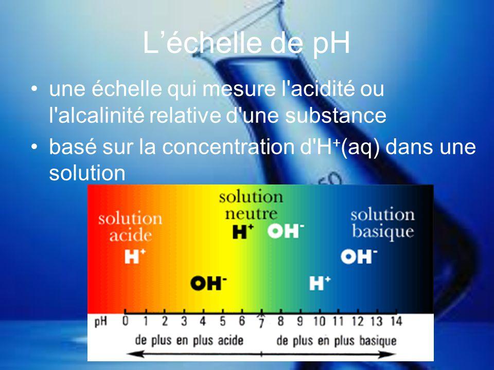 Léchelle de pH une échelle qui mesure l'acidité ou l'alcalinité relative d'une substance basé sur la concentration d'H + (aq) dans une solution