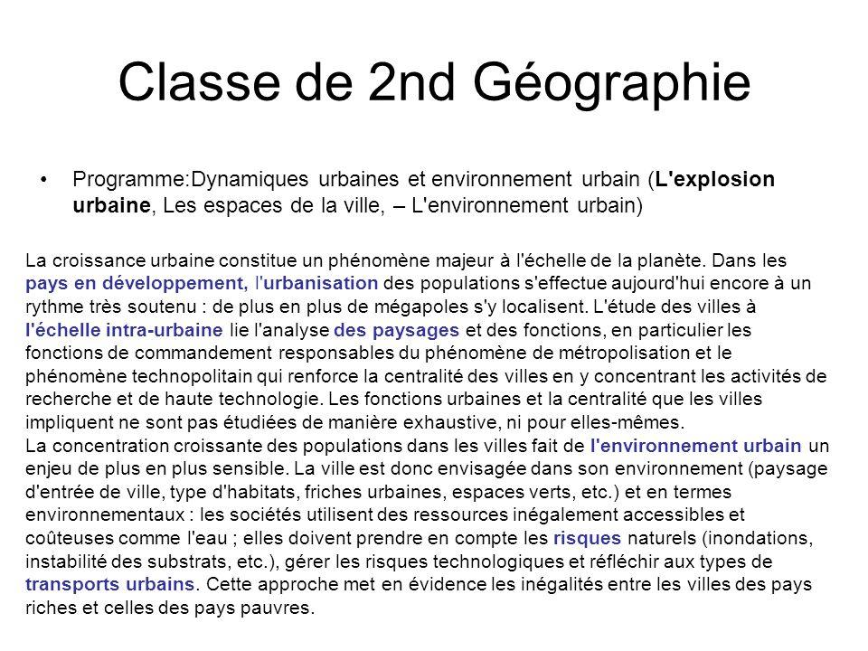 Classe de 2nd Géographie Programme:Dynamiques urbaines et environnement urbain (L'explosion urbaine, Les espaces de la ville, – L'environnement urbain