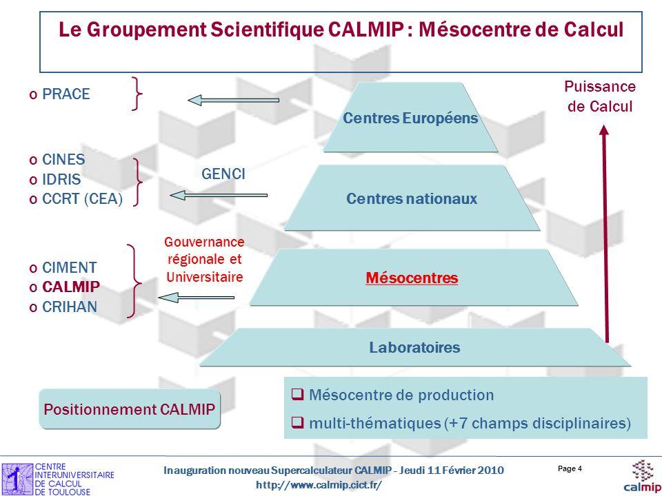http://www.calmip.cict.fr/ Inauguration nouveau Supercalculateur CALMIP - Jeudi 11 Février 2010 Page 4 Le Groupement Scientifique CALMIP : Mésocentre