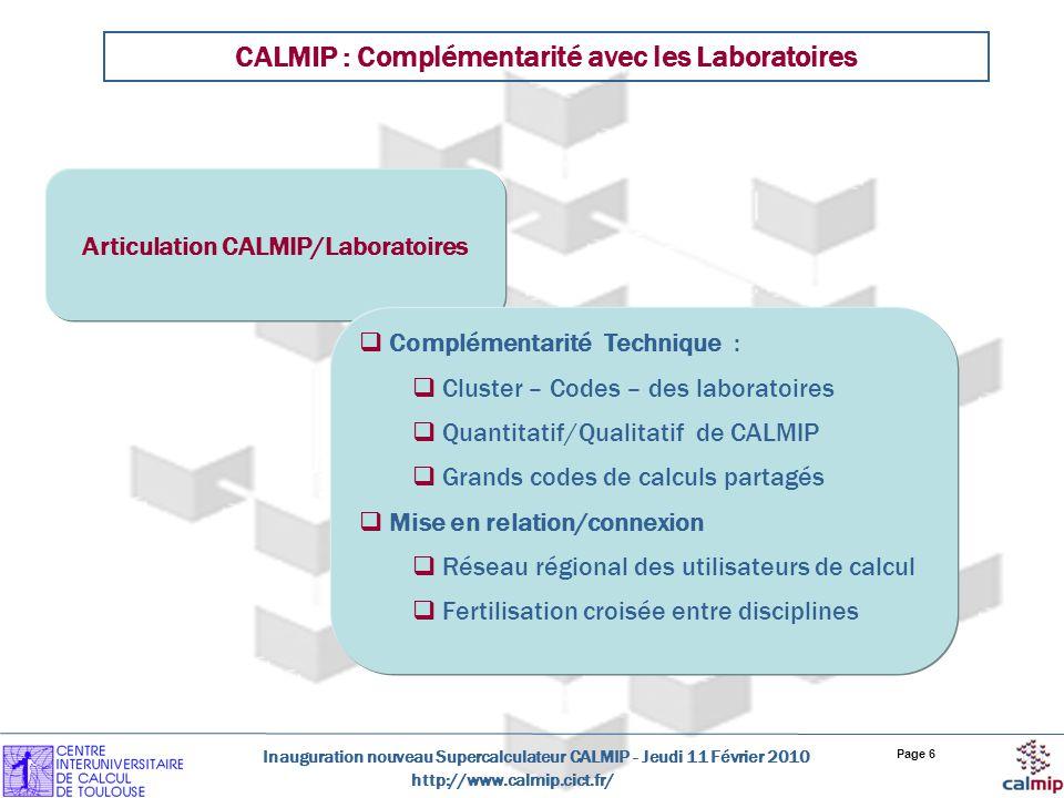 http://www.calmip.cict.fr/ Inauguration nouveau Supercalculateur CALMIP - Jeudi 11 Février 2010 Page 6 CALMIP : Complémentarité avec les Laboratoires