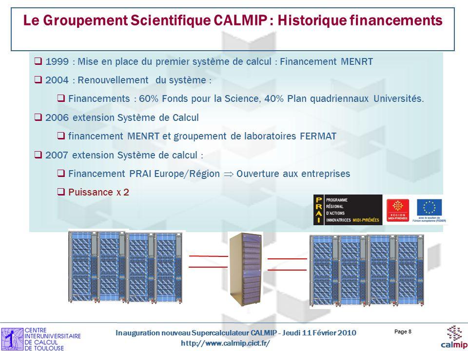 http://www.calmip.cict.fr/ Inauguration nouveau Supercalculateur CALMIP - Jeudi 11 Février 2010 Page 8 Le Groupement Scientifique CALMIP : Historique