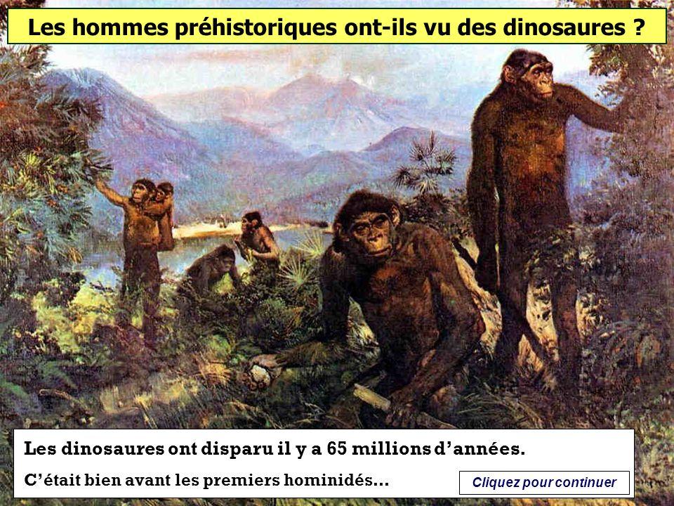 Les hommes préhistoriques ont-ils vu des dinosaures ? Oui Non Cliquez sur la bonne réponse
