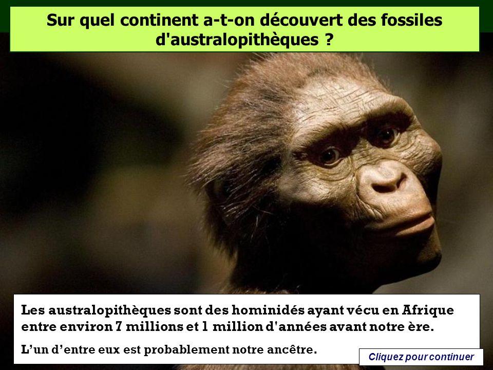 Sur quel continent a-t-on découvert des fossiles d'australopithèques ? Afrique Asie Océanie Cliquez sur la bonne réponse