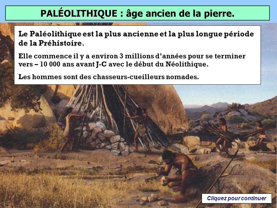 PALÉOLITHIQUE Quel est le sens littéral du terme: PALÉOLITHIQUE ? Âge ancien de la pierre Âge de la pierre polie Cliquez sur la bonne réponse