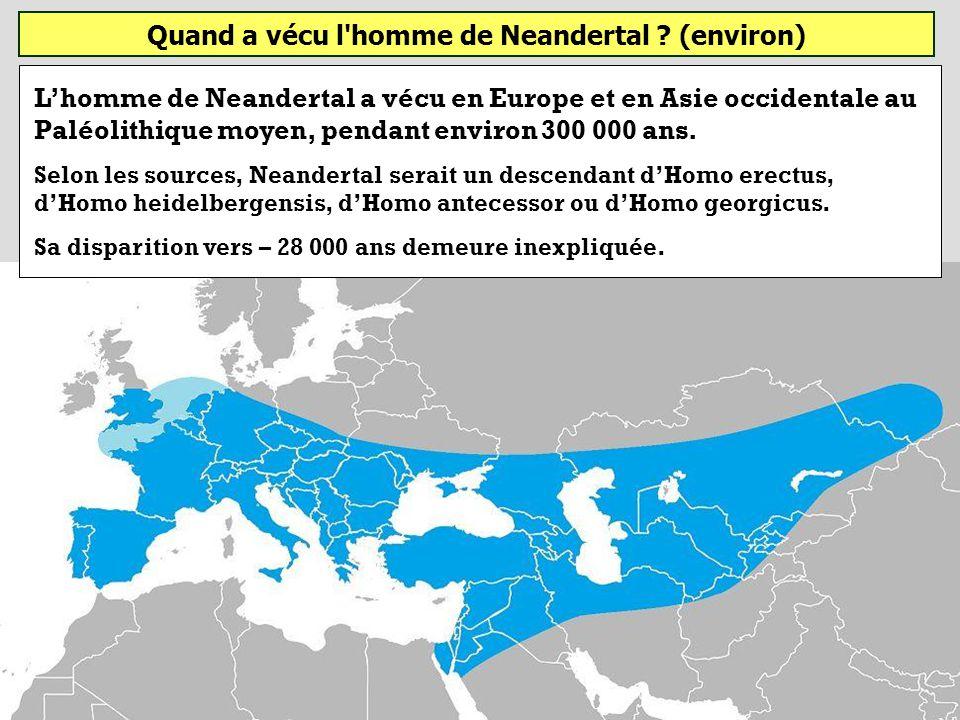 Quand a vécu l'homme de Neandertal (environ) ? - 900 000 à - 450 000 ans - 250 000 à - 28 000 ans - 1,4 Ma à - 950 000 ans Homo neanderthalensis