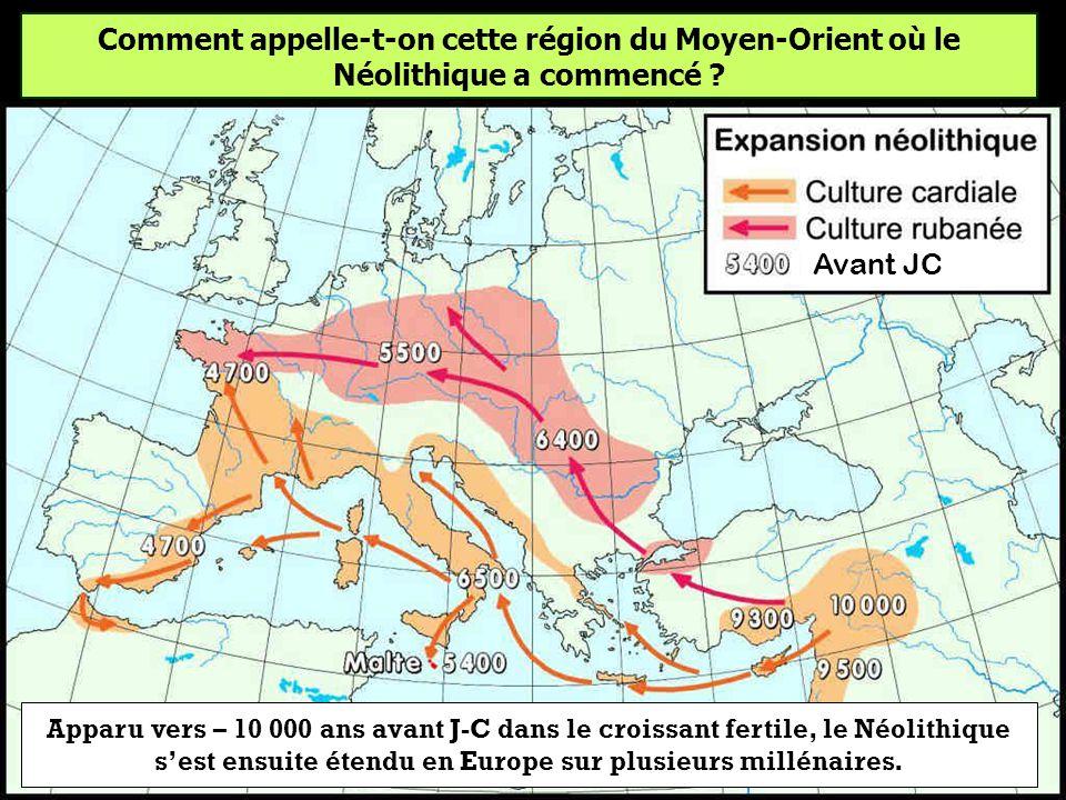 Comment appelle-t-on cette région du Moyen-Orient où le Néolithique a commencé environ – 10 000 ans avant notre ère ? La galette des rois Le croissant