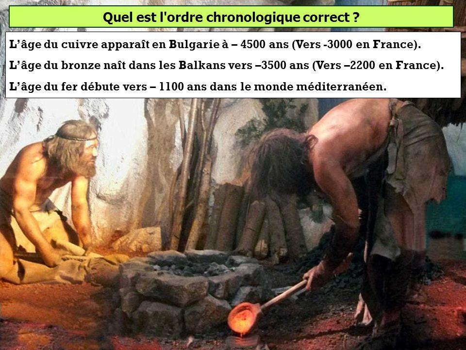 Quel est l'ordre chronologique correct ? Âge du cuivre, âge du bronze, âge du fer Âge du bronze, âge du fer, âge du cuivre Âge du fer, âge du cuivre,