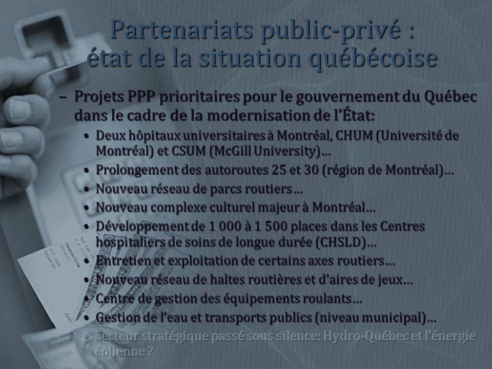 Partenariats public-privé : état de la situation québécoise