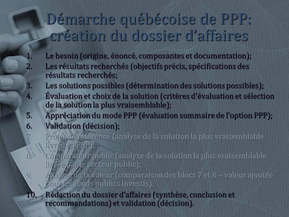 Démarche québécoise de PPP: création du dossier daffaires