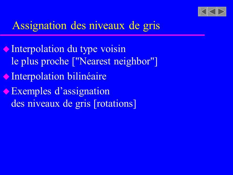 Interpolation du type voisin le plus proche [ Nearest neighbor ] Transformation spatiale Affectation du niveau de gris (x, y) f (x, y)