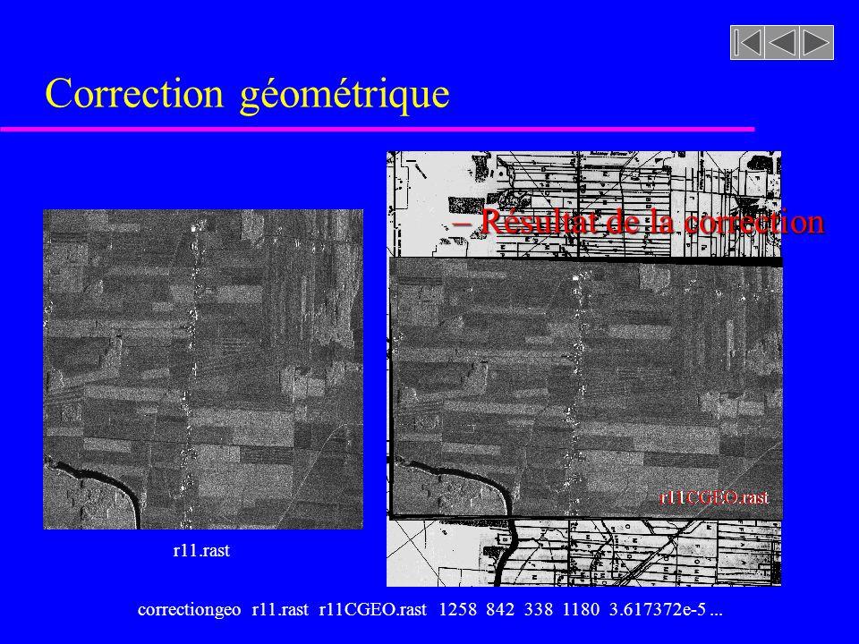 Correction géométrique u Modèle de déformation: x = 3.617372e-5 y 2 - 7.388483e-5 x 2 - 7.460775e-6 xy - 0.06930322 y + 0.8548632 x + 21.974 y = 2.625691e-5 y 2 - 4.338432e-6 x 2 + 1.788196e-5 xy + 1.210034 y - 0.03385992 x - 415.5843 où x,y sont les coordonnées des pixels dans limage déformée et x,y celles de limage corrigée (idéale).