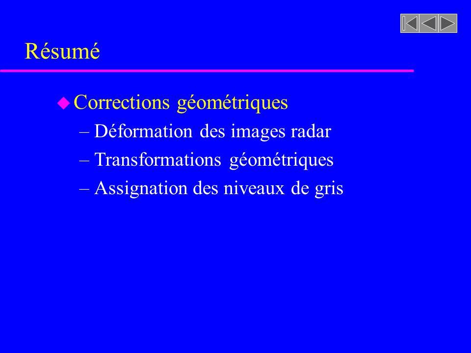 Résumé u Corrections géométriques –Déformation des images radar –Transformations géométriques –Assignation des niveaux de gris