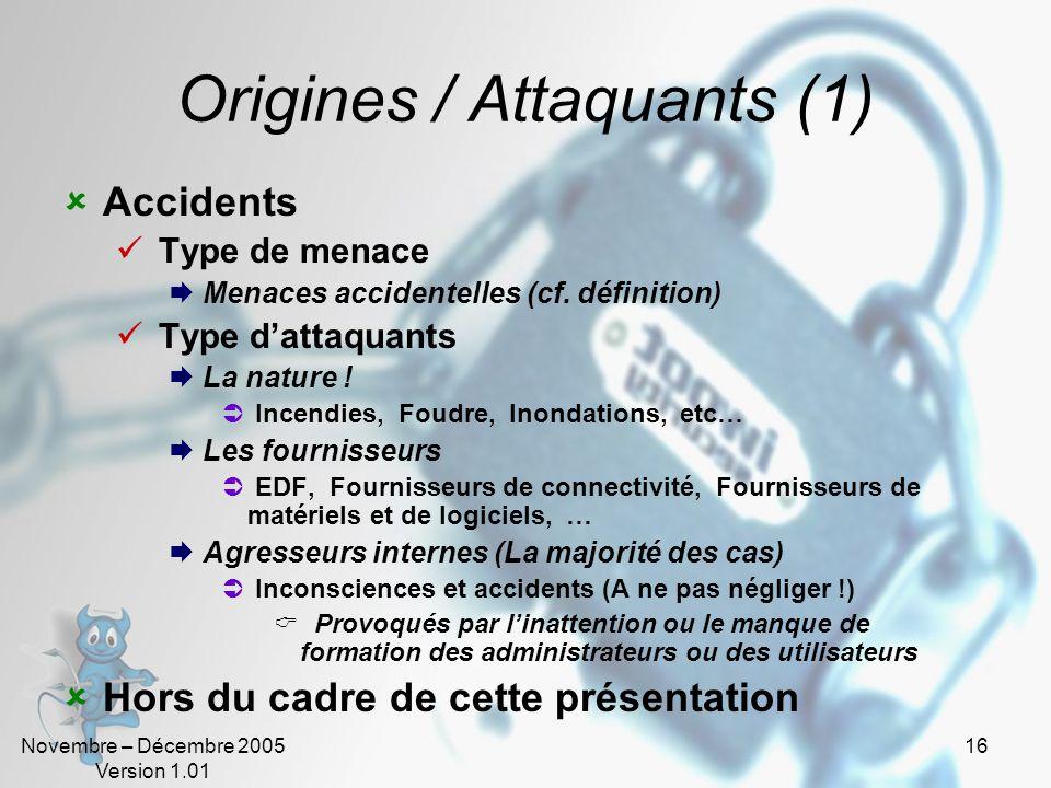 Novembre – Décembre 2005 Version 1.01 15 Catégories de menaces intentionnelles Lespionnage Obtention dinformations Le vol Obtention dinformations ou d