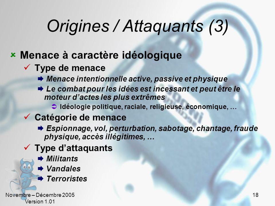 Novembre – Décembre 2005 Version 1.01 17 Origines / Attaquants (2) Menaces à caractère stratégiques Type de menace Menace intentionnelle active, passi
