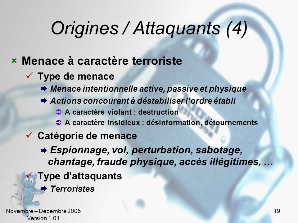 Novembre – Décembre 2005 Version 1.01 18 Origines / Attaquants (3) Menace à caractère idéologique Type de menace Menace intentionnelle active, passive