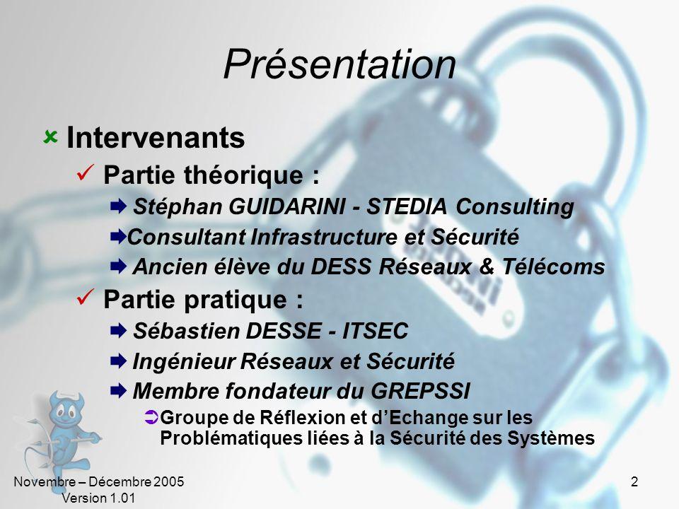 Novembre – Décembre 2005 Version 1.01 1 État de lart de la sécurité informatique Introduction Auteurs : Stéphan GUIDARINI – Consultant Senior Sébastie