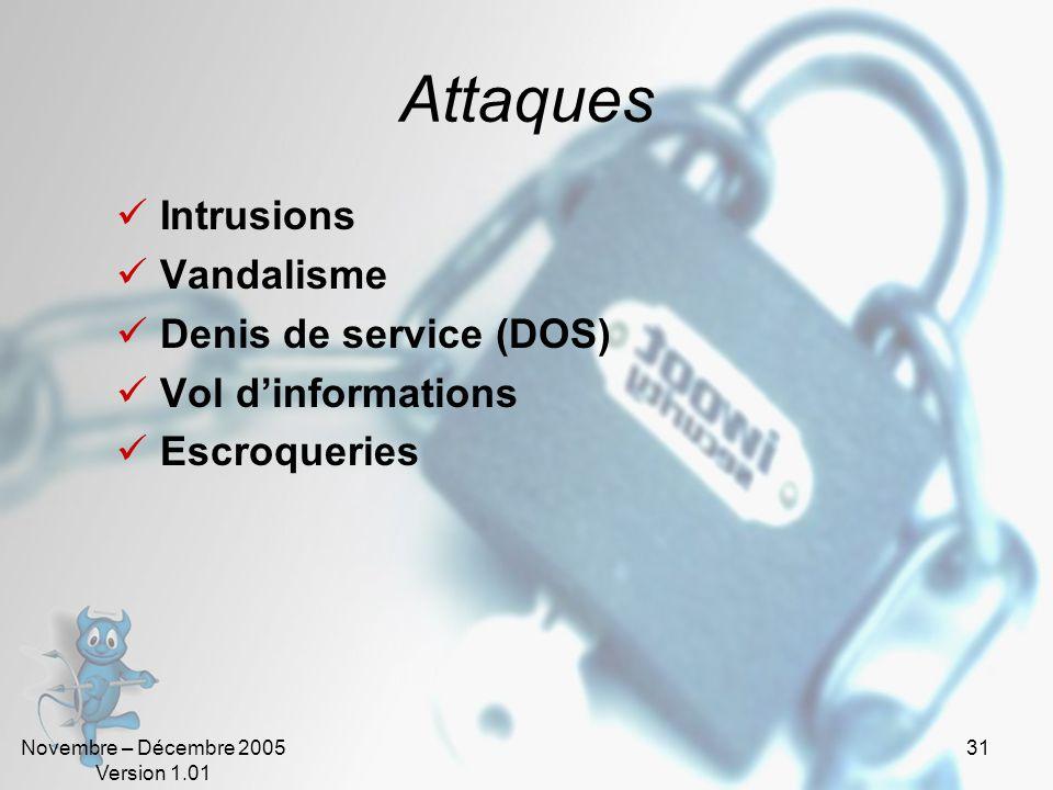 Novembre – Décembre 2005 Version 1.01 30 Vulnérabilités Dans la conception Matériel Protocole Architecture (Système, Réseau, …) Logiciel (OS, applicat