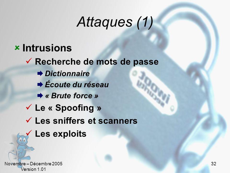 Novembre – Décembre 2005 Version 1.01 31 Attaques Intrusions Vandalisme Denis de service (DOS) Vol dinformations Escroqueries