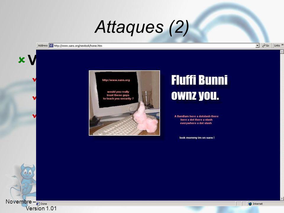 Novembre – Décembre 2005 Version 1.01 32 Attaques (1) Intrusions Recherche de mots de passe Dictionnaire Écoute du réseau « Brute force » Le « Spoofin