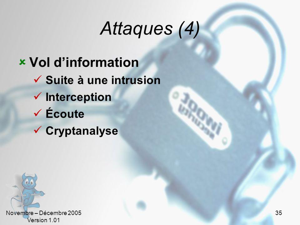 Novembre – Décembre 2005 Version 1.01 34 Attaques (3) Denis de service (DOS) Bombes logiques (virus) Le « flood » TCP-SYN Flooding Le « Nuke » Le « sp