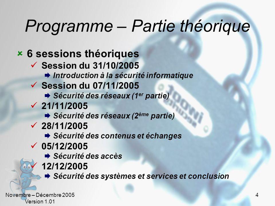 Novembre – Décembre 2005 Version 1.01 54 La politique de sécurité (5).