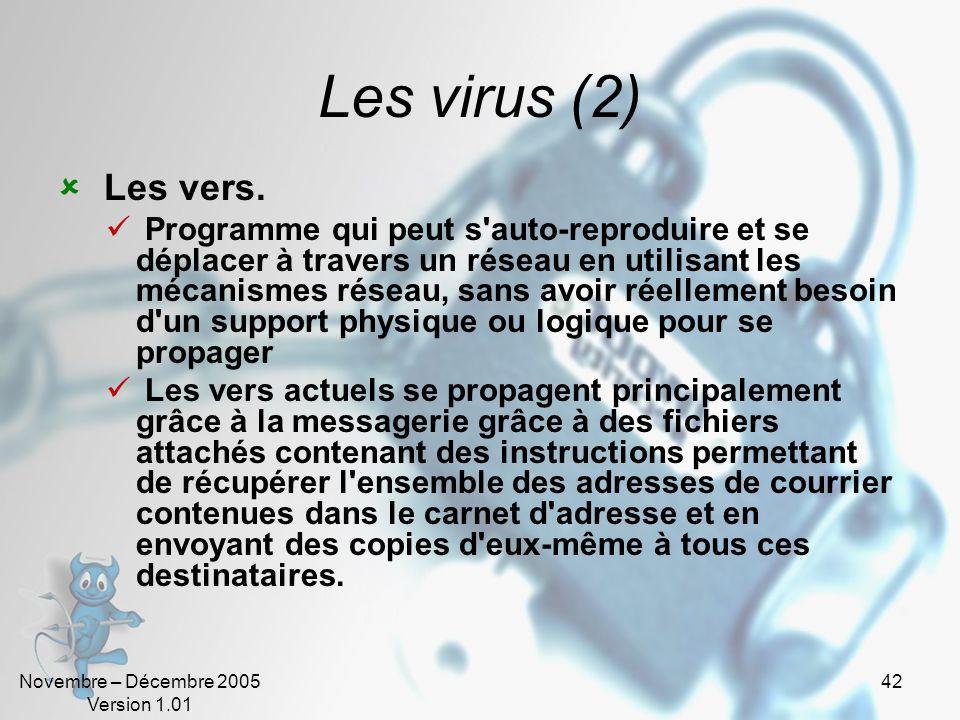 Novembre – Décembre 2005 Version 1.01 41 Les virus Programme informatique situé dans le corps d'un autre, qui, lorsqu'on l'exécute, se charge en mémoi