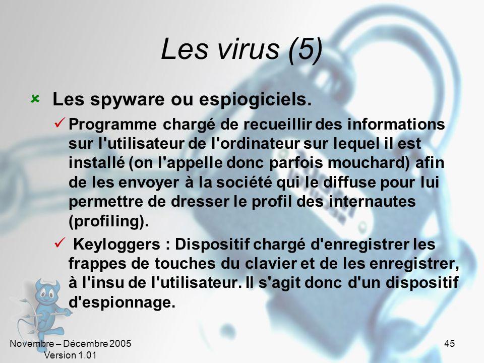 Novembre – Décembre 2005 Version 1.01 44 Les virus (4) Les bombes. Dispositifs programmés dont le déclenchement s'effectue à un moment déterminé en ex