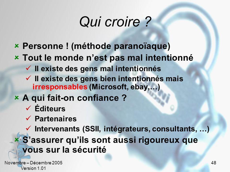 Novembre – Décembre 2005 Version 1.01 47 Attaquant Terroriste Espion Crime organisé Militant Employé Hacker Cracker, vandales… Cible Compte utilisateu